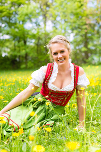 young woman in traditional dirndl on a spring meadowの写真素材 [FYI00857690]