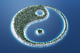 yin and yang - island concept 3の写真素材 [FYI00860198]