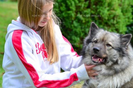 dog child freu shaft girlの写真素材 [FYI00864036]