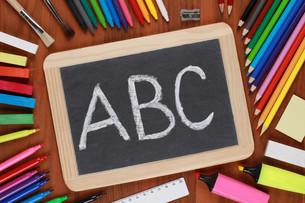 abc on a blackboardの写真素材 [FYI00864936]