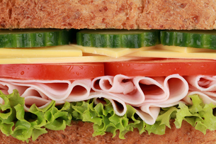 close up of a sandwich with hamの写真素材 [FYI00864978]