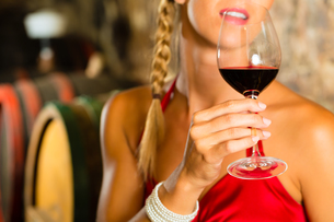 woman looks wineglass in wine cellarの写真素材 [FYI00866020]