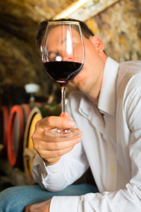 man testing wine in the background wine barrelsの写真素材 [FYI00866092]