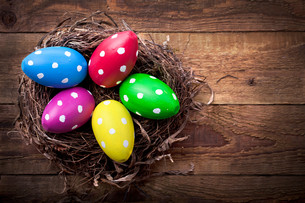 easter eggs in easter nestの写真素材 [FYI00866777]