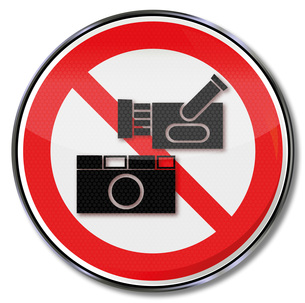 sign prohibition sign camera,camera and industrial espionageの写真素材 [FYI00867161]