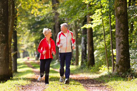 seniors jogging in the forestの写真素材 [FYI00868774]