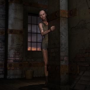 zombie looking around the cornerの素材 [FYI00870165]