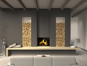 living room with fireplace and beamed ceilingの写真素材 [FYI00870331]