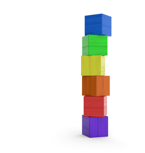 tower of colorful toy blocks isolated 3の写真素材 [FYI00871293]