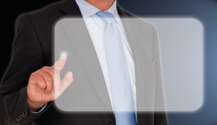 businessman with touchscreenの写真素材 [FYI00871508]