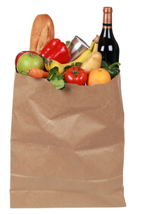 shopping bag with fruit,vegetables and wineの写真素材 [FYI00872756]