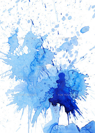 blue blob and spatter on whiteの写真素材 [FYI00872772]