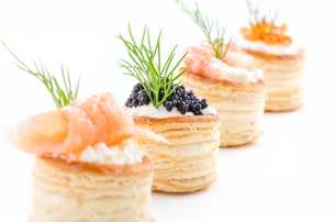pies with salmon,caviar and shrimpの写真素材 [FYI00872828]