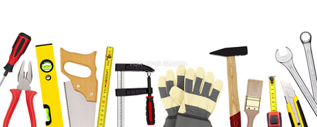 tools isolated on whiteの写真素材 [FYI00874157]