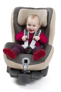 child booster seat in a car for in light backgroundの写真素材 [FYI00875088]