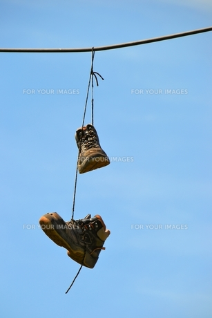 shoes on an overhead line in magdeburgの写真素材 [FYI00877574]