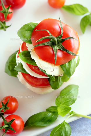 tomato and mozzarella snackの写真素材 [FYI00878412]