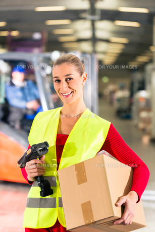 lageristin of freight forwarding keeps package in a warehouseの写真素材 [FYI00878601]