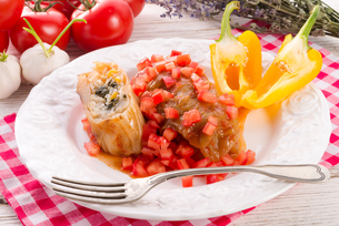 vegetarian cabbage rolls with spinach and salsaの写真素材 [FYI00878998]