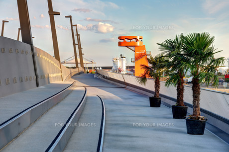 on the new baakenhafen bridgeの写真素材 [FYI00880374]