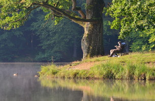 anglers in the morning sun on a late summer dayの写真素材 [FYI00881403]