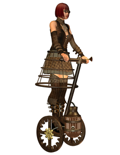 steampunk girl on a steam-driven transportの写真素材 [FYI00881655]