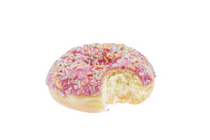 isolated donut with pink icingの素材 [FYI00883137]