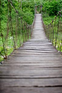 dilapidated suspension bridgeの写真素材 [FYI00883214]