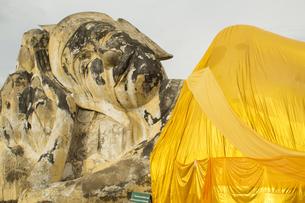 タイ・アユタヤ  ワット ローカヤスターラーム 涅槃像の写真素材 [FYI00883631]