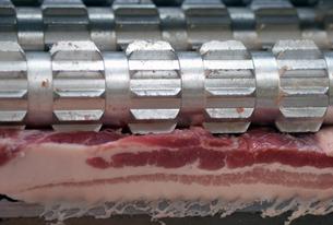 肉屋のスライサーと豚バラの写真素材 [FYI00885356]