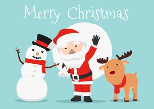 クリスマスカード サンタクロースと雪だるまとトナカイのイラスト素材 [FYI00885415]