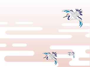 日本の雲と鶴のイラスト素材 [FYI00885438]