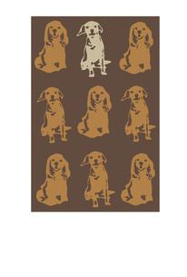 犬のオシャレなポストカード ブラウンのイラスト素材 [FYI00885636]