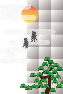 戌年の犬と松と日の出のモダンな和風イラストのポストカードのイラスト素材 [FYI00885639]