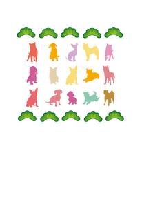 カラフルでシンプルな犬と松葉のポストカードのイラスト素材 [FYI00885644]