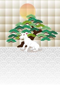 白い犬と松の木と日の出の和風ポストカードのイラスト素材 [FYI00885649]