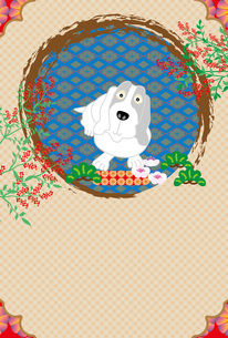 犬と南天の実のイラストのポストカードのイラスト素材 [FYI00885651]