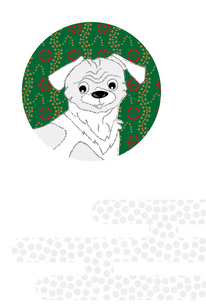 可愛い犬の和風イラストのシンプルなポストカードのイラスト素材 [FYI00885657]