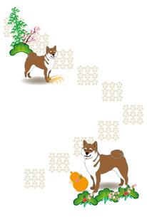 柴犬とひょうたんと稲穂の和風イラストのポストカードのイラスト素材 [FYI00885661]
