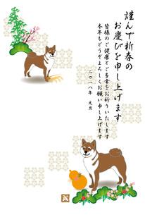柴犬とひょうたんと松竹梅のイラスト年賀状テンプレート 戌年2018のイラスト素材 [FYI00885663]