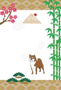 柴犬と日の出の富士山と松竹梅のイラスト年賀ハガキのイラスト素材 [FYI00885664]
