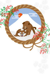 柴犬の子犬と日の出の富士山と南天の実の和風イラストポストカード のイラスト素材 [FYI00885666]