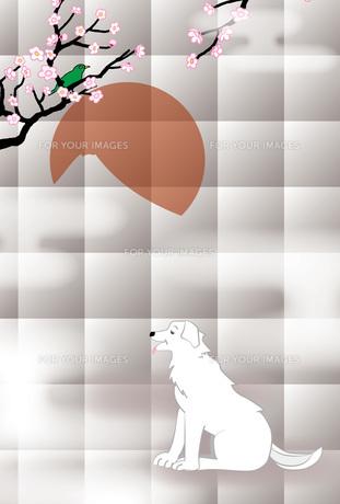 白い犬と梅に鶯と日の出富士の和風イラストポストカードのイラスト素材 [FYI00885676]