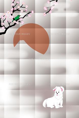 白い犬と梅に鶯と日の出の富士山の和風イラストはがきのイラスト素材 [FYI00885679]