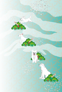 白い犬と松と梅の花の和風イラストポストカード 若草色のイラスト素材 [FYI00885680]