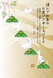白い犬と松と梅の花の和風イラスト年賀状テンプレート 戌年2018のイラスト素材 [FYI00885681]