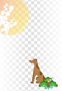 シンプルな犬と日の出の和風イラストのポストカードの写真素材 [FYI00885684]