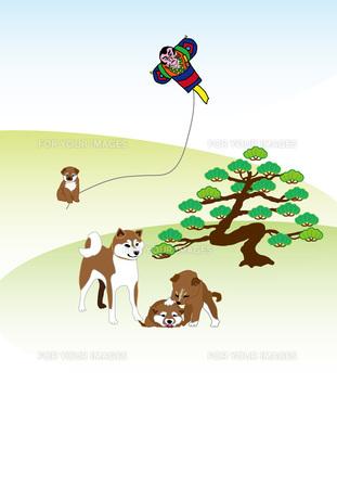 柴犬のお正月の和風縦型ポストカードのイラスト素材 [FYI00885688]