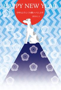 犬と山と日の出のおしゃれなイラスト年賀状テンプレート戌年2018のイラスト素材 [FYI00885693]