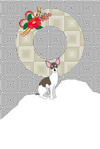 おしゃれな犬と赤い椿の花のイラストのポストカードのイラスト素材 [FYI00885696]